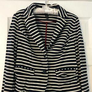 Medium INC Blue/Ivory Striped Cropped Blazer